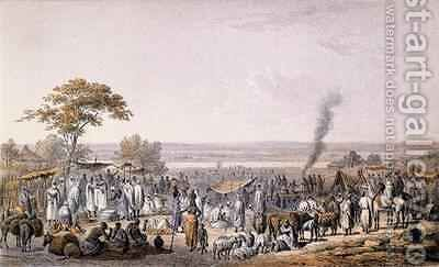 The Market in Sokoto in 1853, from 'Travels and Discoveries in North and Central Africa' by (after) Bernatz, Johann Martin - Reproduction Oil Painting