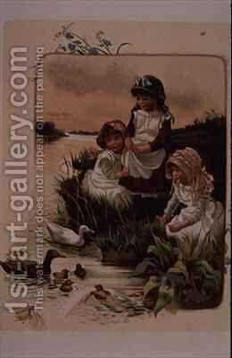 Feeding Ducks by Edith S. Berkeley - Reproduction Oil Painting