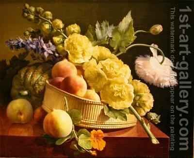 Peaches and Hollyhocks by Antoine Berjon - Reproduction Oil Painting