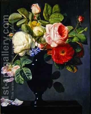 Still life with flowers 2 by Antoine Berjon - Reproduction Oil Painting