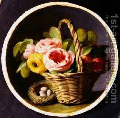 Still life with roses and a nest by Antoine Berjon - Reproduction Oil Painting