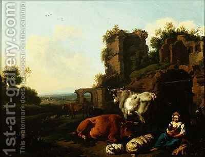 Landscape with Shepherdess by Dirk van Berghen - Reproduction Oil Painting