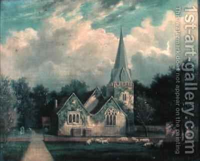 Stoke Poges Church by Edmund Birckhead Bensell - Reproduction Oil Painting