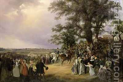 Review in Ladugardsgarde Fields During Tsar Nicholas' Visit in 1838 by Baron Karl-Stefan Bennet - Reproduction Oil Painting