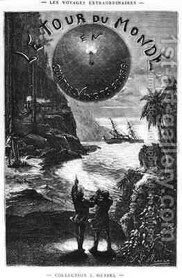 Frontispiece of 'Around the World in Eighty Days' by Jules Verne (1828-1905) Paris by Hippolyte Leon Benett - Reproduction Oil Painting