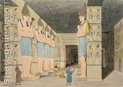 View of the interior of the temple at Ybsombul, Nubia, discovered by Giovanni Belzoni by (after) Belzoni, Giovanni Battista - Reproduction Oil Painting