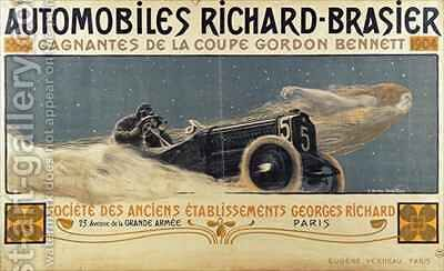 Poster showing Automobiles Richard-Brasier winning the Gordon Bennett Cup by Henri Jules Ferdinand Bellery-Desfontaines - Reproduction Oil Painting