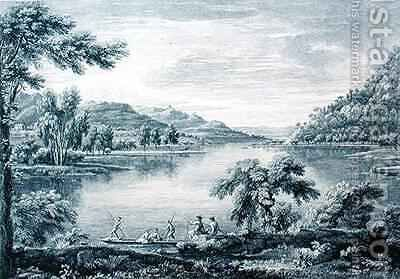 A View of Hawswater, a lake near Banton in Westmoreland by (after) Bellers, William - Reproduction Oil Painting