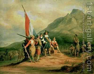 The Landing of Jan van Riebeeck (1619-77) 6th April 1652 by Charles Bell - Reproduction Oil Painting
