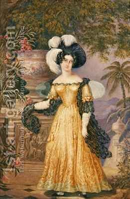 Lady Rowe, standing small full length on a terrace, a moonlit Jamaican landscape beyond by Isaac Mendes Belisario - Reproduction Oil Painting