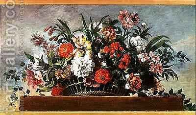 Woven Basket Filled with Flowers by Jean Baptiste Belin de Fontenay - Reproduction Oil Painting