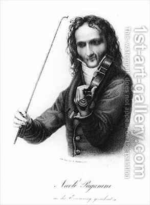 Portrait of Niccolo Paganini, Italian violinist by (after) Carl The Elder Begas - Reproduction Oil Painting
