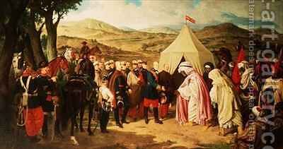 The Spanish meet with the Moroccans to negotiate a Peace Settlement by (after) Becquer, Joachin Dominguez - Reproduction Oil Painting