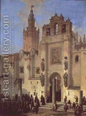 Religious procession in Seville by (after) Becquer, Joachin Dominguez - Reproduction Oil Painting