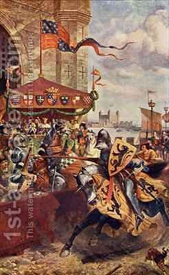 Solemn Joust on London Bridge between David de Lyndsays and Lord John de Welles in 1390 by (after) Beavis, Richard - Reproduction Oil Painting