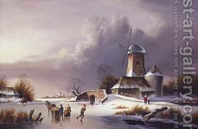 Dutch Frozen River Landscape 2 by David Beatty - Reproduction Oil Painting