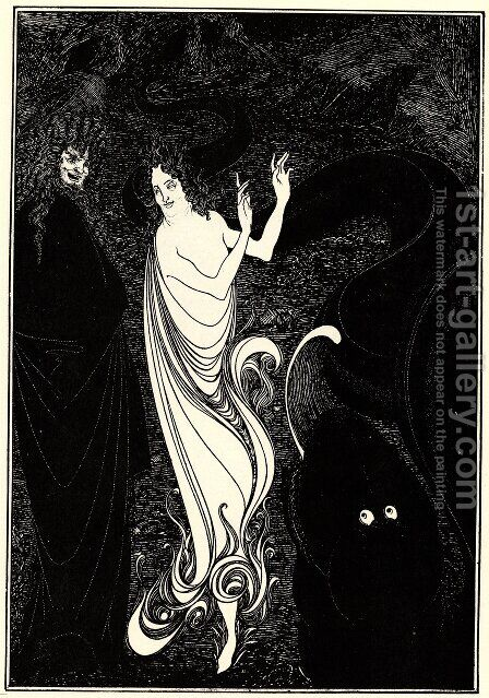 Third tableau illustration for Das Rheingold by Aubrey Vincent Beardsley - Reproduction Oil Painting