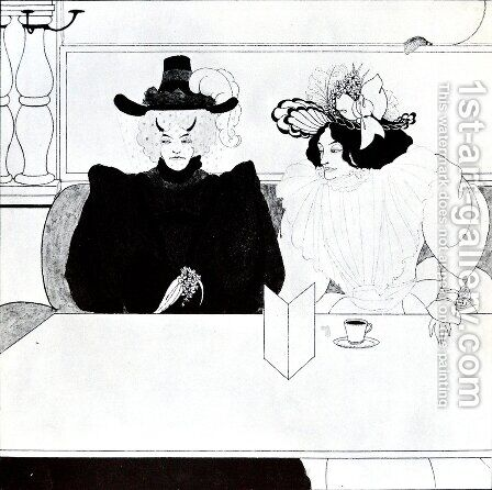 Black Coffee by Aubrey Vincent Beardsley - Reproduction Oil Painting