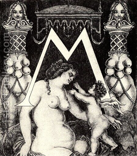 Initial Letter 'M' for Volpone by Aubrey Vincent Beardsley - Reproduction Oil Painting