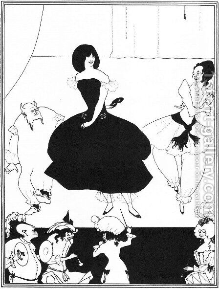 Illustration of the comedy-ballet 'Marionettes III' by Aubrey Vincent Beardsley - Reproduction Oil Painting