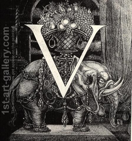 Initial Letter 'V' to Volpone by Aubrey Vincent Beardsley - Reproduction Oil Painting