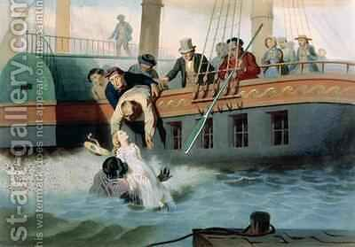 Tom Saves Evangeline, plate 4 from 'Uncle Tom's Cabin' 2 by (after) Bayot, Adolphe Jean-Baptiste - Reproduction Oil Painting