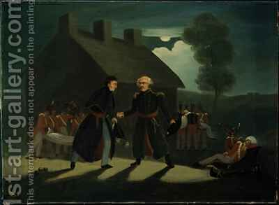 The meeting of Wellington (1769-1852) and Blucher (1742-1819) at La Belle Alliance after the Battle of Waterloo by H. Baynes - Reproduction Oil Painting