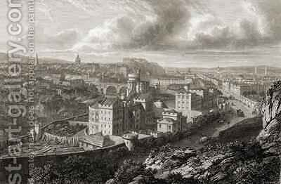 View from Calton Hill, Edinburgh by (after) Batty, Lieutenant-Colonel - Reproduction Oil Painting