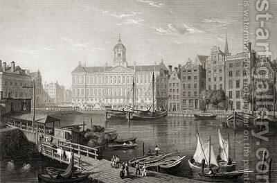 The Damrak Palace, Amsterdam by (after) Batty, Lieutenant-Colonel - Reproduction Oil Painting