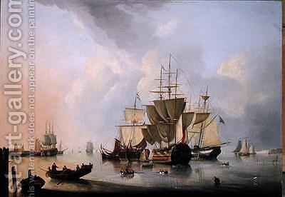 A Two Decker and other Vessels by Dominique de Bast - Reproduction Oil Painting