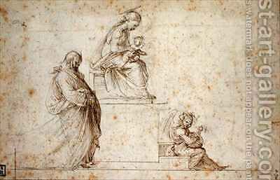 Virgin and Child on a pedestal with Joseph and an angel playing the mandolin by (after) Bartolommeo, Fra (Baccio della Porta) - Reproduction Oil Painting