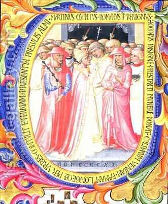 Historiated initial 'U' depicting Pope Martin V (1368-1431) concecrating the Church of Sant Egidio by Bartolomeo di Frusino - Reproduction Oil Painting