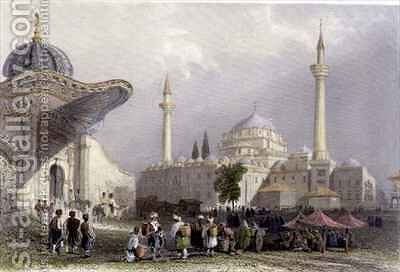 The Mosque of Bajazet with the Seraskier's Gate, Istanbul by (after) Bartlett, William Henry - Reproduction Oil Painting