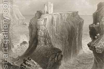 Dunseverick Castle, County Antrim, Northern Ireland by (after) Bartlett, William Henry - Reproduction Oil Painting