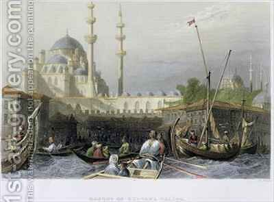 Mosque of Sultana Valide from the Port by (after) Bartlett, William Henry - Reproduction Oil Painting
