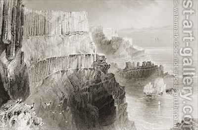 Plaiskin Cliff, near Giant's Causeway, County Antrim, Northern Ireland by (after) Bartlett, William Henry - Reproduction Oil Painting