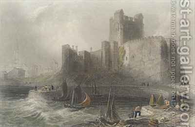 View of Carrifergus Castle by (after) Bartlett, William Henry - Reproduction Oil Painting