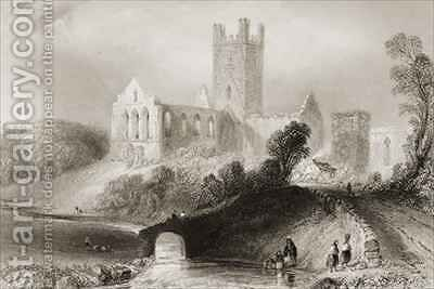 Jerpoint Abbey, County Kilkenny, Ireland by (after) Bartlett, William Henry - Reproduction Oil Painting