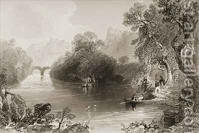 Killarney, Old Weir Bridge, County Killarney, Ireland by (after) Bartlett, William Henry - Reproduction Oil Painting