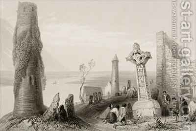 The Ancient Cross and Round Tower at Clonmacnois, County Offaly, Ireland by (after) Bartlett, William Henry - Reproduction Oil Painting