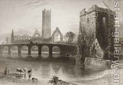 Clare Abbey, County Clare, Ireland by (after) Bartlett, William Henry - Reproduction Oil Painting