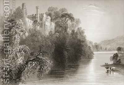 Lismore Castle, Lismore, County Waterford, Ireland by (after) Bartlett, William Henry - Reproduction Oil Painting