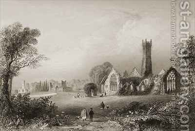 Augustinian Abbey at Adare, County Limerick, Ireland by (after) Bartlett, William Henry - Reproduction Oil Painting