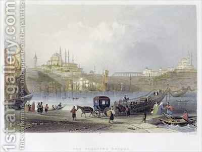The Floating Bridge, Istanbul by (after) Bartlett, William Henry - Reproduction Oil Painting