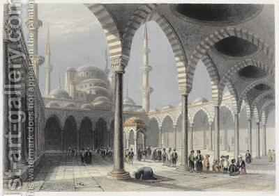 The Court of the Mosque of Sultan Achmet, Istanbul by (after) Bartlett, William Henry - Reproduction Oil Painting