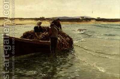 Unloading Kelp Weed by Charles William Bartlett - Reproduction Oil Painting