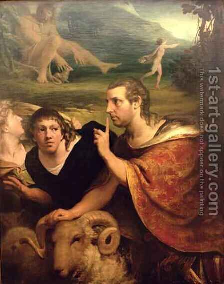 Portraits of James Barry and Edmund Burke in the characters of Ulysses and his companion fleeing from the Cave of Polyphemus by James Barry - Reproduction Oil Painting