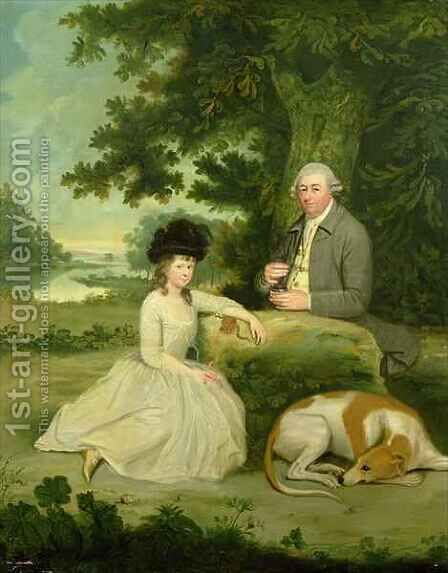 Portrait of Mr Leroy with his Daughter by (after) Hugh Barron - Reproduction Oil Painting