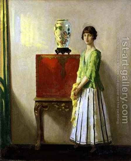 The Red Lacquer Cabinet by Archibald George Barnes - Reproduction Oil Painting