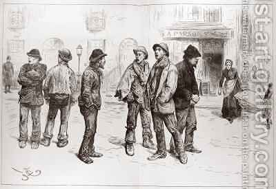 The Unemployed of London 'We've Got No Work to Do' by (after) Barnard, Frederick - Reproduction Oil Painting